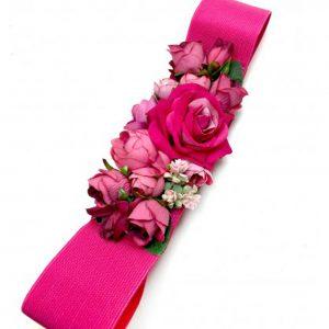 Cinturón de Fiesta Fucsia con Flores y Plumas Imagen